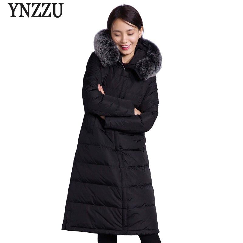 YNZZU Luxury Women Winter   Down   Jacket 2018 Elegant Long Duck   Down     Coats   Real Large Fur Collar Hooded Warm Snow Overcoat O602