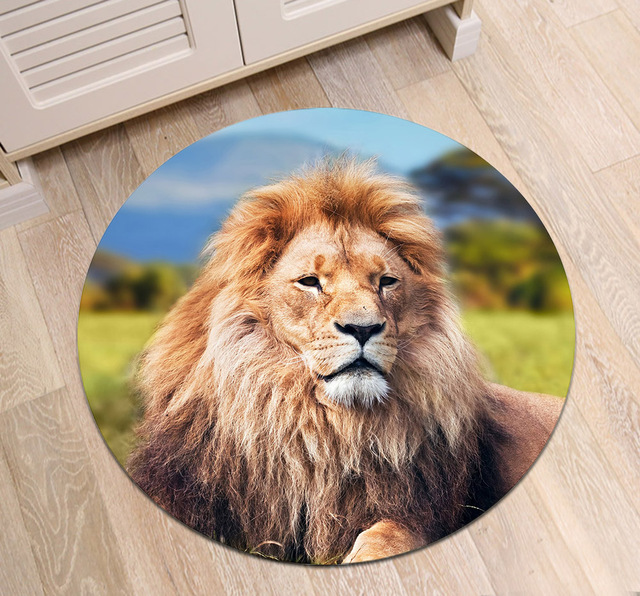 Lion Lying On Prairie Round Dining Room Area Rug Childrens Floor Cushion Bedroom Bathroom Non Slip Carpet Office Door Mat