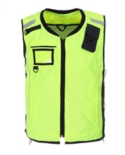 Reflective ridling jerseys Reflective security clothes Sports security warning vest fluorescent yellow Oxford windproof with pocket