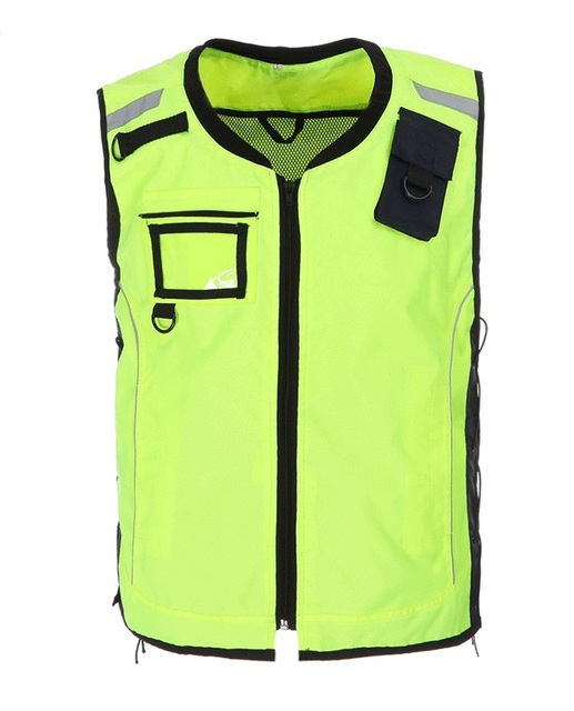 Reflective ridling jerseys Reflective safety clothing Sports safety warning vest fluorescent yellow Oxford windproof with pocket