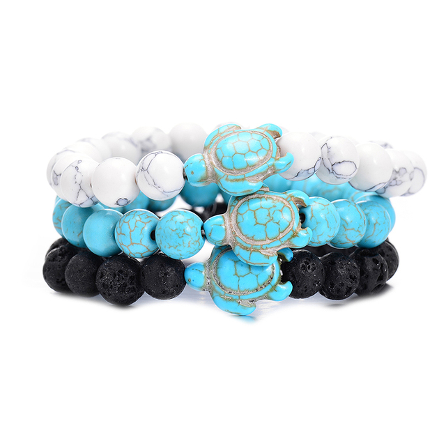 Summer Style Sea Turtle Beads Bracelets For Women Men Classic 8MM Blue Natural S