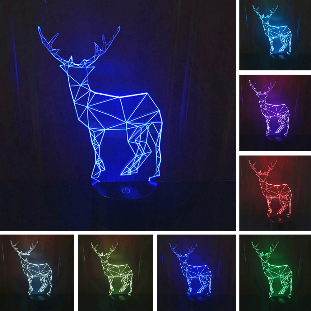 Top Quality Creative Stylish 3D Elk Deer Lamp Night Light 7 Color Changing LED Wedding Home Bedroom Living Bar Cafe Decoration In Lights From