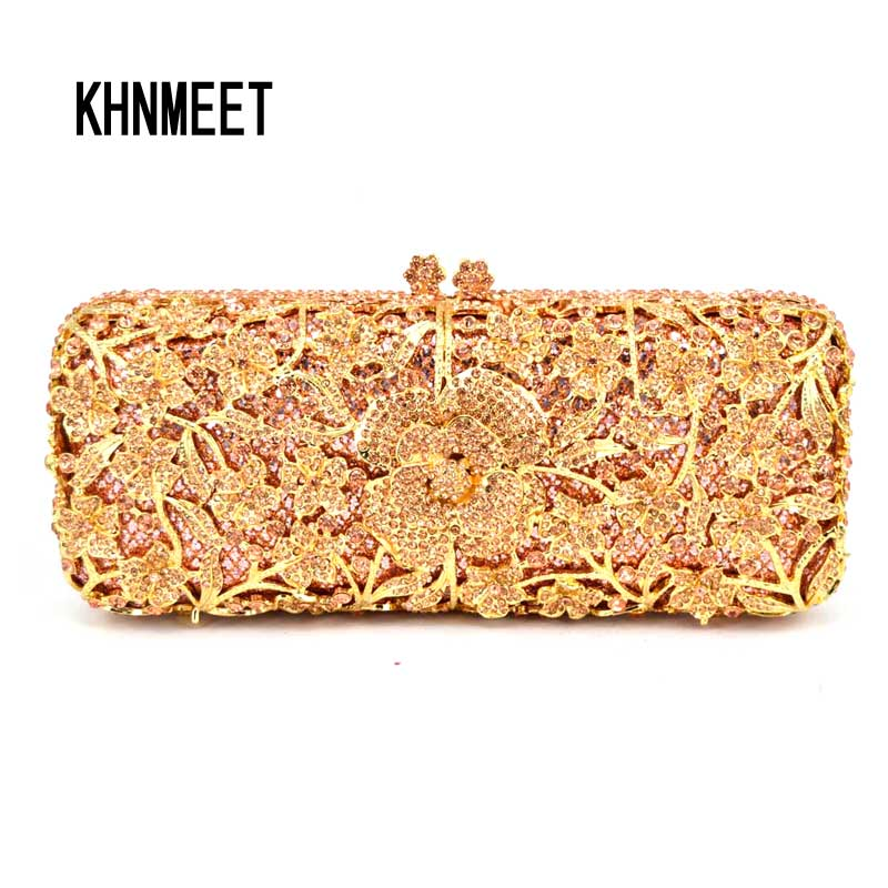 long flower with chain women clutch bag Plated Metal purse luxury crystal evening bag ladies party bag sac pochette clutches 150 yuanyu 2018 new hot free shipping real python leather women clutch women hand caught bag women bag long snake women day clutches