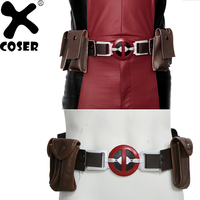 XCOSER X Men Deadpool Belt PU Leather Belt with 4 Pockets Prop Deadpool Cosplay Costume Accessory For Professional Cosplay