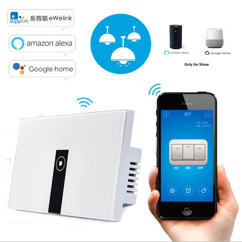 eWelink US Standard 1 Gang Wifi Control Touch Light Switch Wireless Control Smart Switch via Phone,Work with Alexa/Google Home eu us smart home remote touch switch 1 gang 1 way itead sonoff crystal glass panel touch switch touch switch wifi led backlight