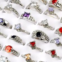 Wholesale Lots 5pcs Women Elegant Fashion CZ Zircon Crystal Silver Plated Ring For Girls Mix size 16-20mm High Quality