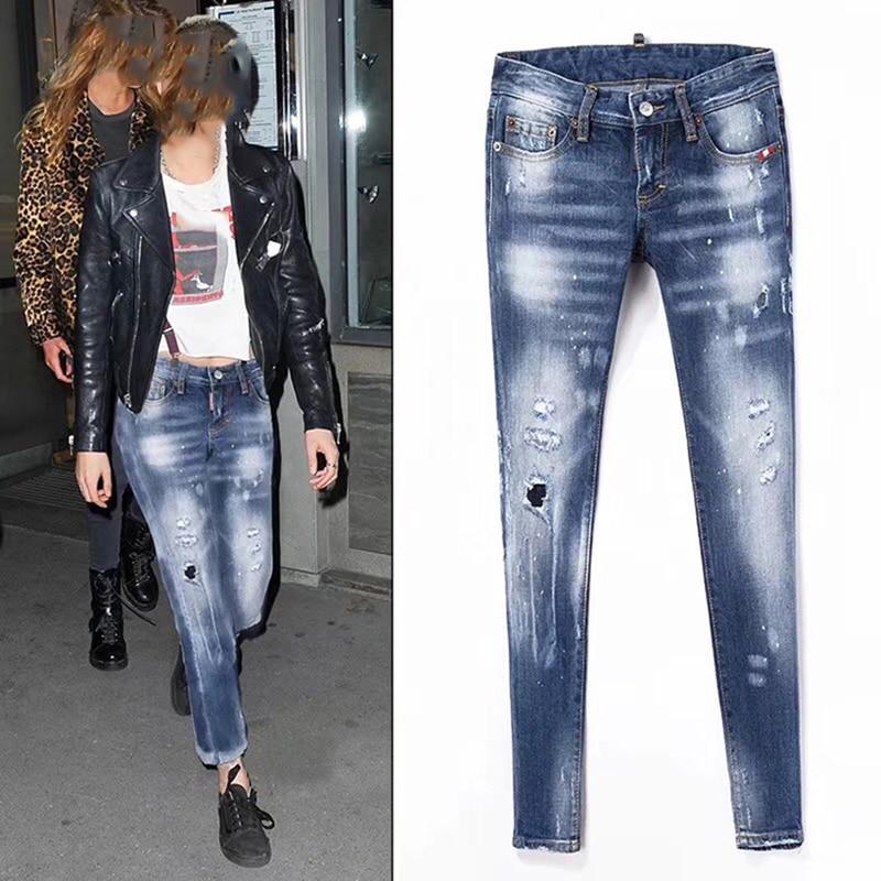 2018 Nieuwe Jeans voor vrouwen Jeans Met Mid Taille Jeans Vrouw elastische Plus Size Vrouwen Jeans Femme Gewassen Casual Skinny Potlood Broek-in Spijkerbroek van Dames Kleding op  Groep 1