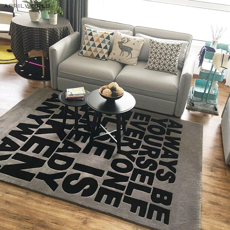 Серый черные буквы коврик акриловый ковер alfombras современный ковры ручной работы гостиной Спальня Творческий Кофе таблица диван ковры