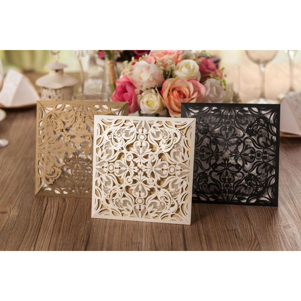 50pcs Gold White Black Laser Cutting Flower Marriage Wedding Invitations Card Elegant Lace Favor Wedding Event & Party Supplies