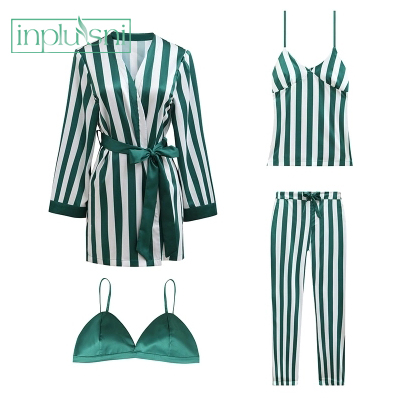 Inplusni women robe gown sets fashion female stripe trousers of condole belt homewear top grade silk four-piece sets pyjama sets
