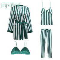 Inplusni women robe gown sets female stripe trousers of condole belt homewear top grade four piece Sleep & Lounge robe gown sets