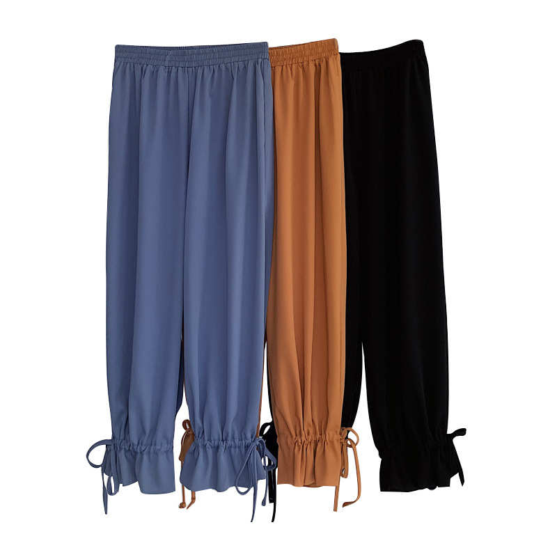 Summer Chiffon   Wide     Leg     Pants   For Women Elastic Waist Solid Loose Ankle-length   Pants   Cool Thin Trousers Casual   Pants   P9085