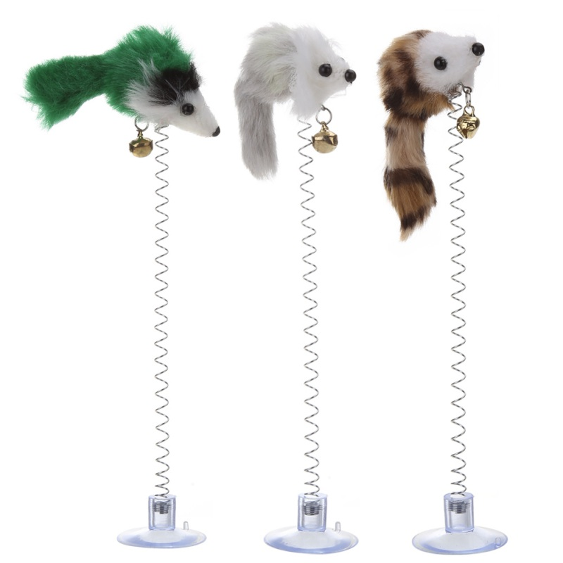 3Pcs Funny Cat Toys Elastic Feather False Mouse Bottom Sucker Toys For Cat Kitten Playing Pet Cat Products