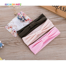 SLKMSWMDJ simple solid baby hair band cotton headdress girl children elasticity accessories  hoop 3 colors 1pcs