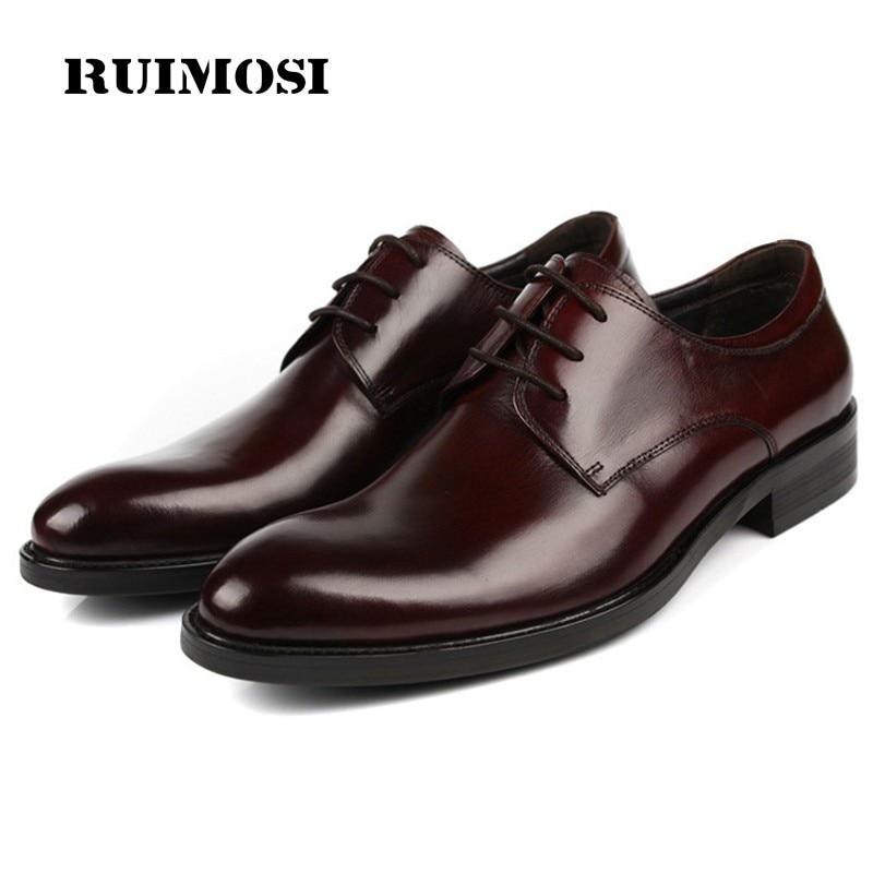 RUIMOSI New Fashion Formal Man Dress Shoes Genuine Leather Designer Oxfords Flat Platform Men's Wedding Footwear For Male DF49