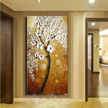 Free Shipping 100% Handpainted Oil Paintings Picture White Flower Tree Abstract Oil Painting on Canvas for Home Decoration