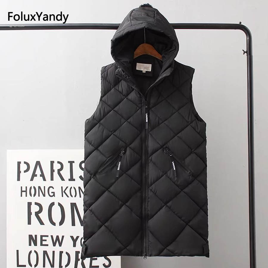 Warm Thick Vests Women Plus Size 3 4 5 XL Autumn Winter Style Hooded Sleeveless Vest