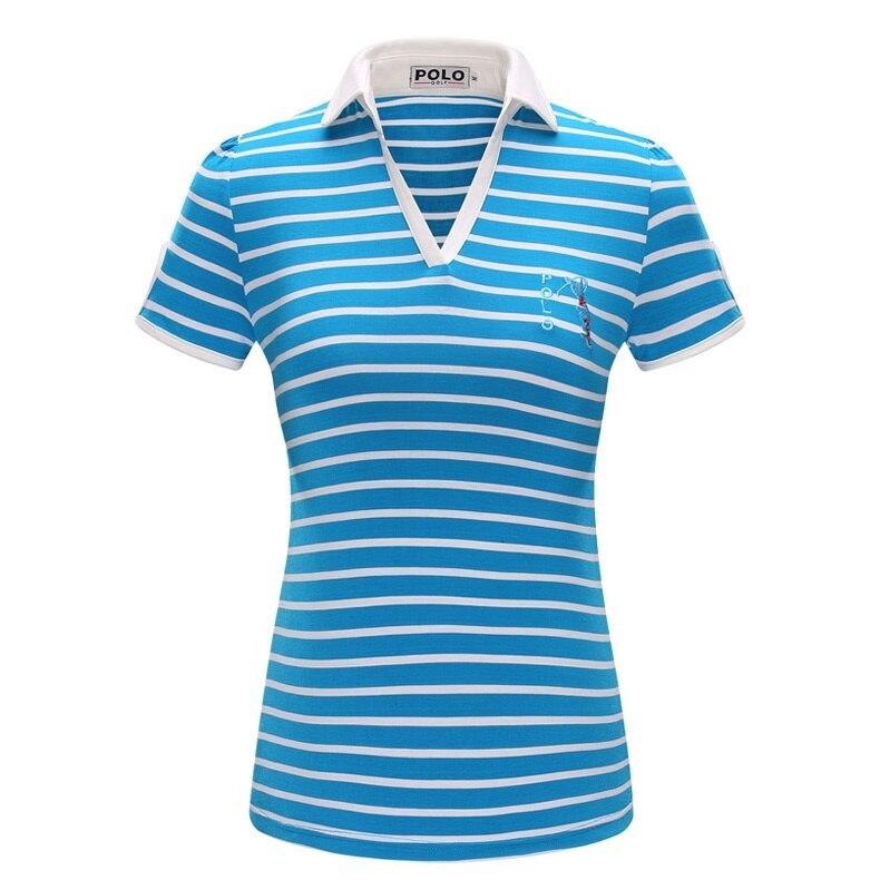 00156f7fa3 Mais novo POLO GOLF Apparel Mulheres Top Camisa De Algodão Primavera Verão  senhora T-shirt de Manga Curta Gola V Camisa Listrada Magro Subiu azul