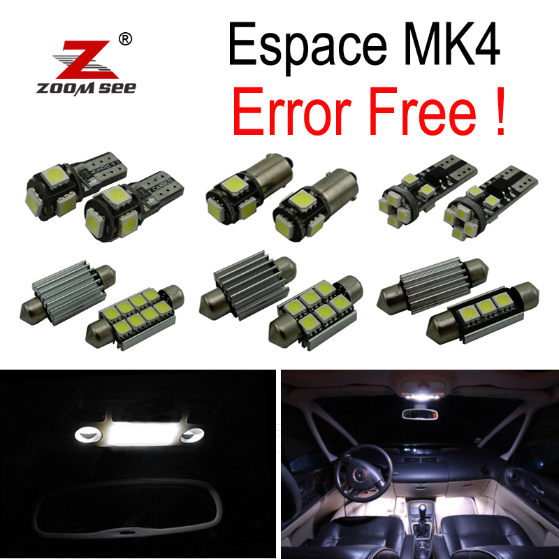 20pc x For 2003-2005 Renault Espace 4 IV MK4 Error Free Car LED bulbs Interior Reading dome map trunk Light Kit 8pcs car led light bulbs interior package kit for 2003 2008 subaru forester map dome trunk license plate lamp white ice blue