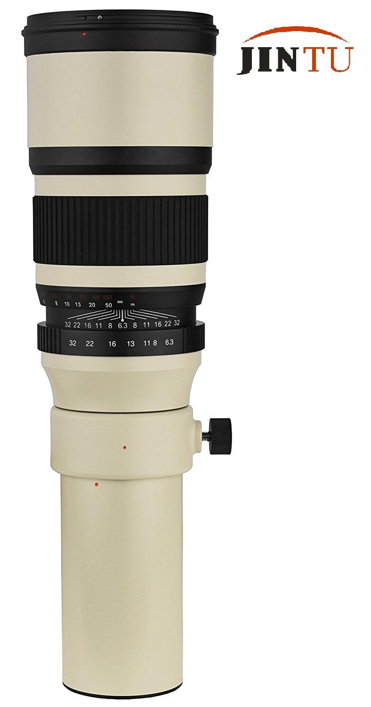 JINTU 500mm F6.3-32 Super Fixed Focus MF Telephoto Prime Lens + T2 Adapter For Sony Alpha Full Frame APS-C DSLR Digital Camera deluxe telescope camera adapter kit for sony af dslr slr prime focus and projection fits standard 1 25 telescopes