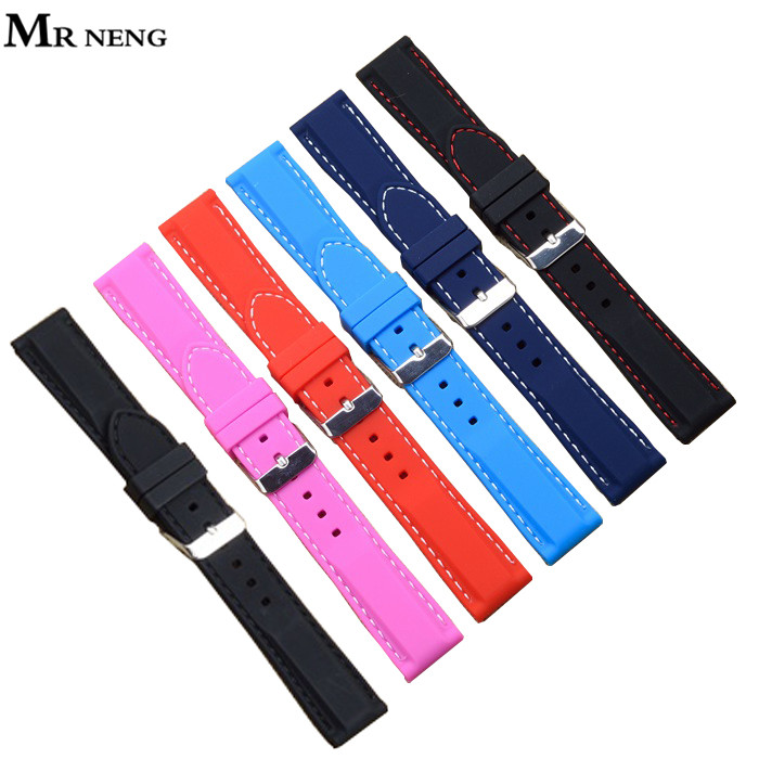 Hot-sale Men Women Black Brown Blue 7 colors Silicone Rubber Watchband Strap watch Band Waterproof for wristwatches 16mm ~ 24mm watch band 24mm 26mm new men top grade black waterproof rock climbing silicone rubber watchband bands bracelets free shiping