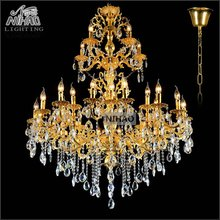 Luxurious Gold Large Crystal Chandelier Lamp Crystal Lustre Light Fixture 3 tiers 29 Arms Hotel Lamp MD3134 D1120mm H1400mm