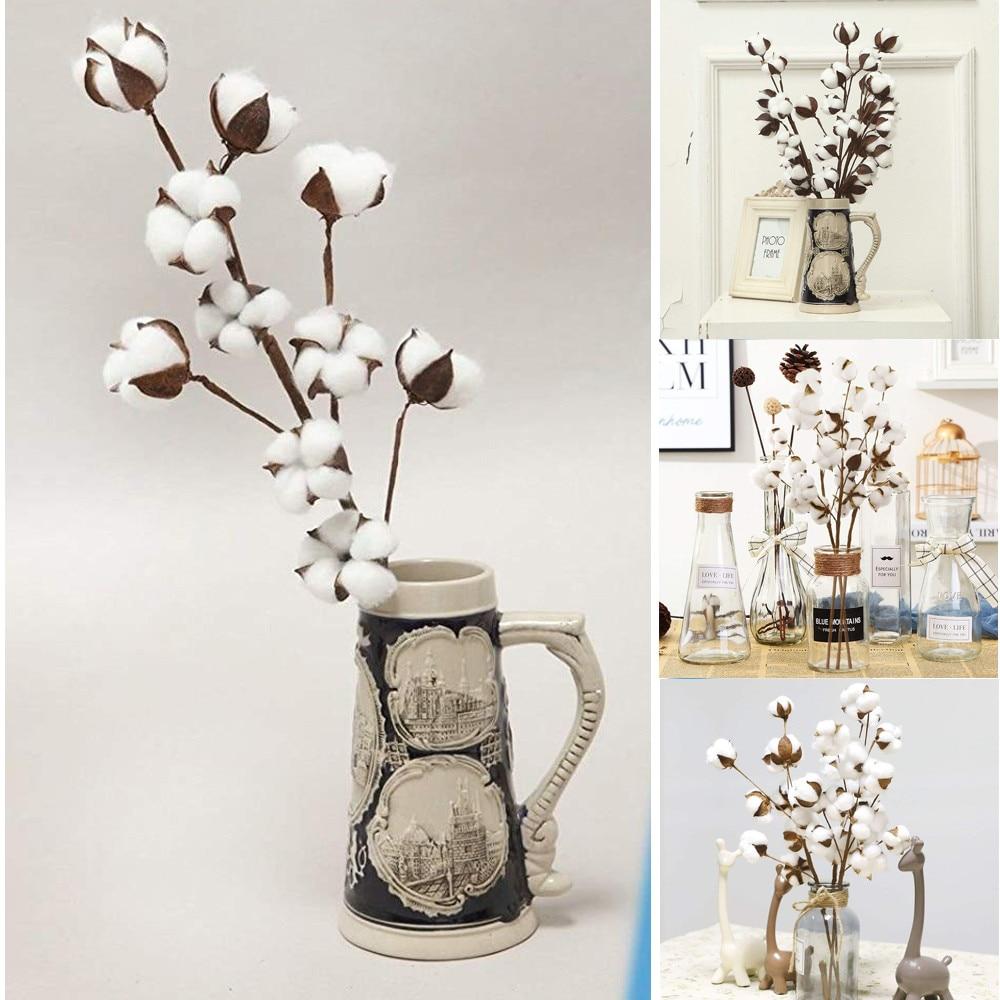 Naturally Dried Cotton Stems Farmhouse Artificial Flower Filler Floral Decor home decorative casa decorativa