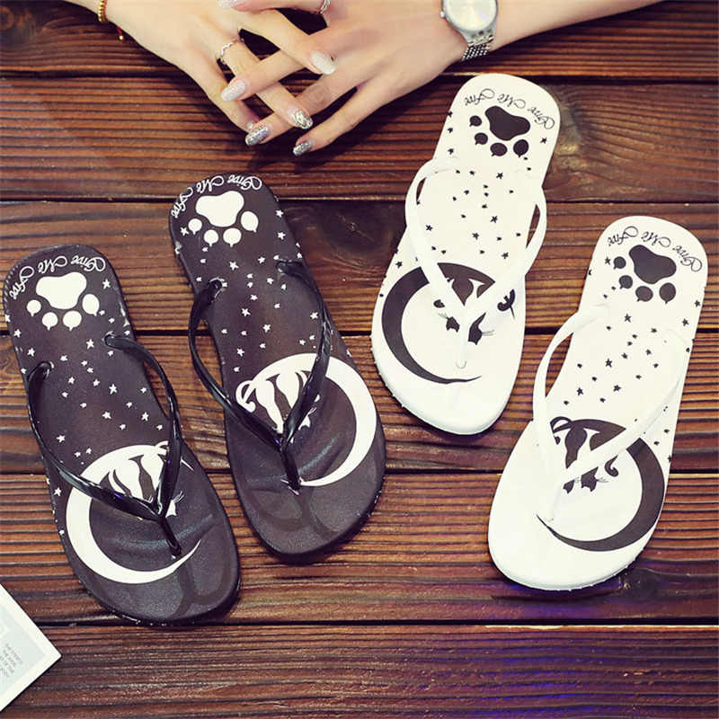 Black White Slippers Summer Cartoon Cat Flip Flops Shoes Woman Sandals Slippers indoor & outdoor Fashion Beach Slippers