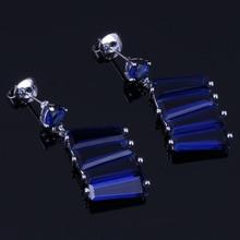 Impressive Blue Cubic Zirconia 925 Sterling Silver Drop Dangle Earrings For Women V0701
