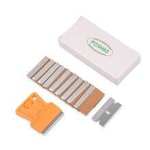 FOSHIO оранжевый бритвенный скребок+ 10 шт. лезвия для бритвы, виниловые инструменты для Обертывания автомобилей, старый клей, автомобильная наклейка, съемник пленки, скребок для чистки окон