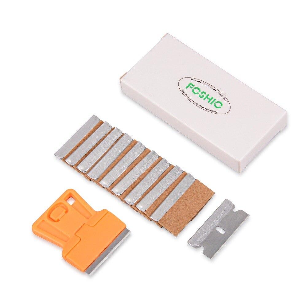 FOSHIO оранжевый скребок для бритвы + 10 шт. лезвий виниловые инструменты обертывания