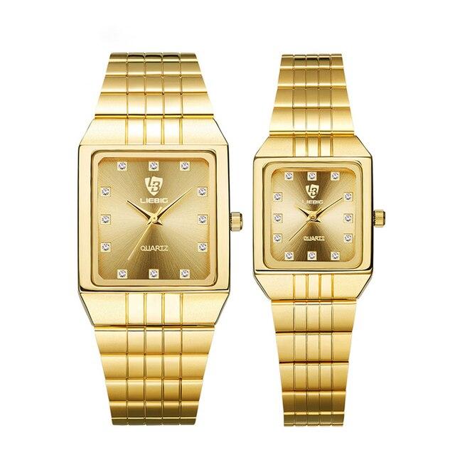 Golden Quartz Watch Men Women Watches relogio masculino Clock Top Luxury Gold Br