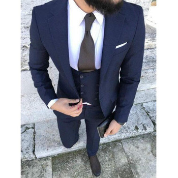 One Button Navy Blue Groom Tuxedos Notch Lapel Groomsmen Suit Mens Wedding Tuxedos Business Prom Suits (Jacket+Pants+Vest)