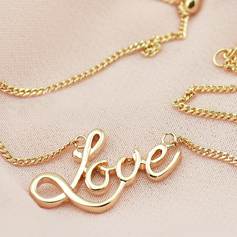 Ustar Love Word Pendants Necklace For Women Rose Gold Color Chain Necklace Joker Simple Party Jewelry