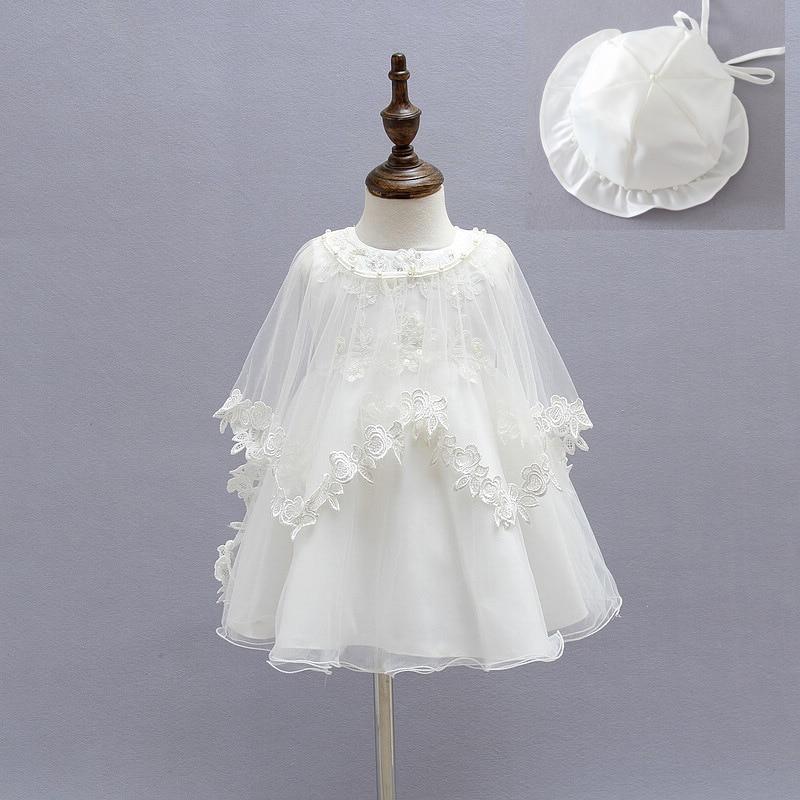 0eb6bfbde3c53 Princess Baby Girls Christening Dress Ivory Baby Girls Gown  Dresses+Hat+Shawl Wedding Party Lace Dress for Newborn Baptism 3PCS