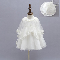 Princess Baby Girls Christening Dress Ivory Baby Girls Gown Dresses+Hat+Shawl Wedding Party Lace Dress for Newborn Baptism 3PCS