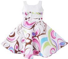 Sunny Fashion Robe Fille Pourpre Motif cachemire Fleur Imprimer Double Arc Attacher