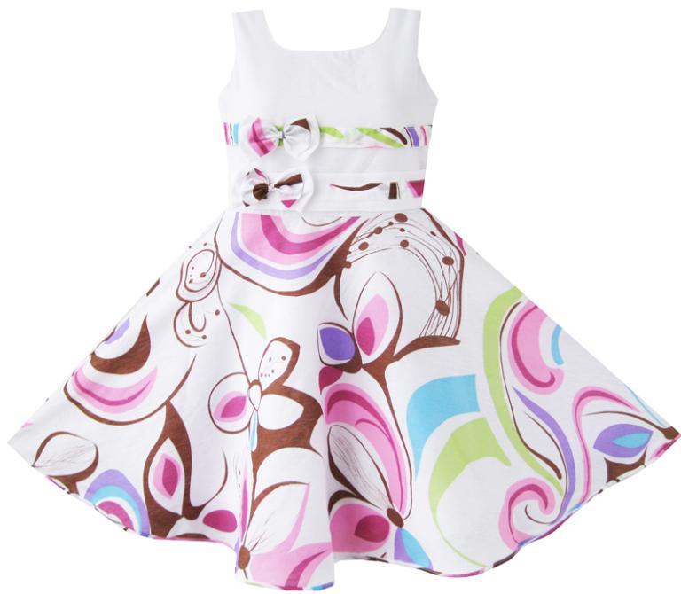 Mädchen Kleid Lila Paisley Blume Doppel Fliege Kinder Kleidung - Kinderkleidung