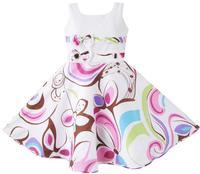 Girls Dress Purple Paisley Flower Print Double Bow Tie Kids Clothing SZ 4 12