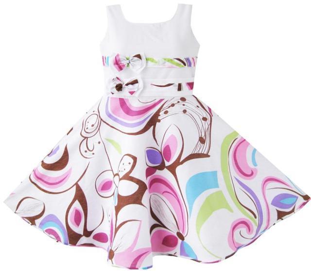 Sunny Fashion платья для девоче летние платья детские Пурпурный Пейсли Цветок Распечатать Двойной Лук Наконечник