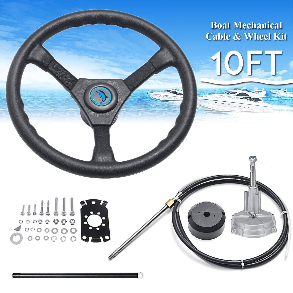 NEW 10FT Marine Engine Rotary Steering System Steering Helm  Boat Mechanical Cable & Wheel 90 Degree Bearing Bezel Kit