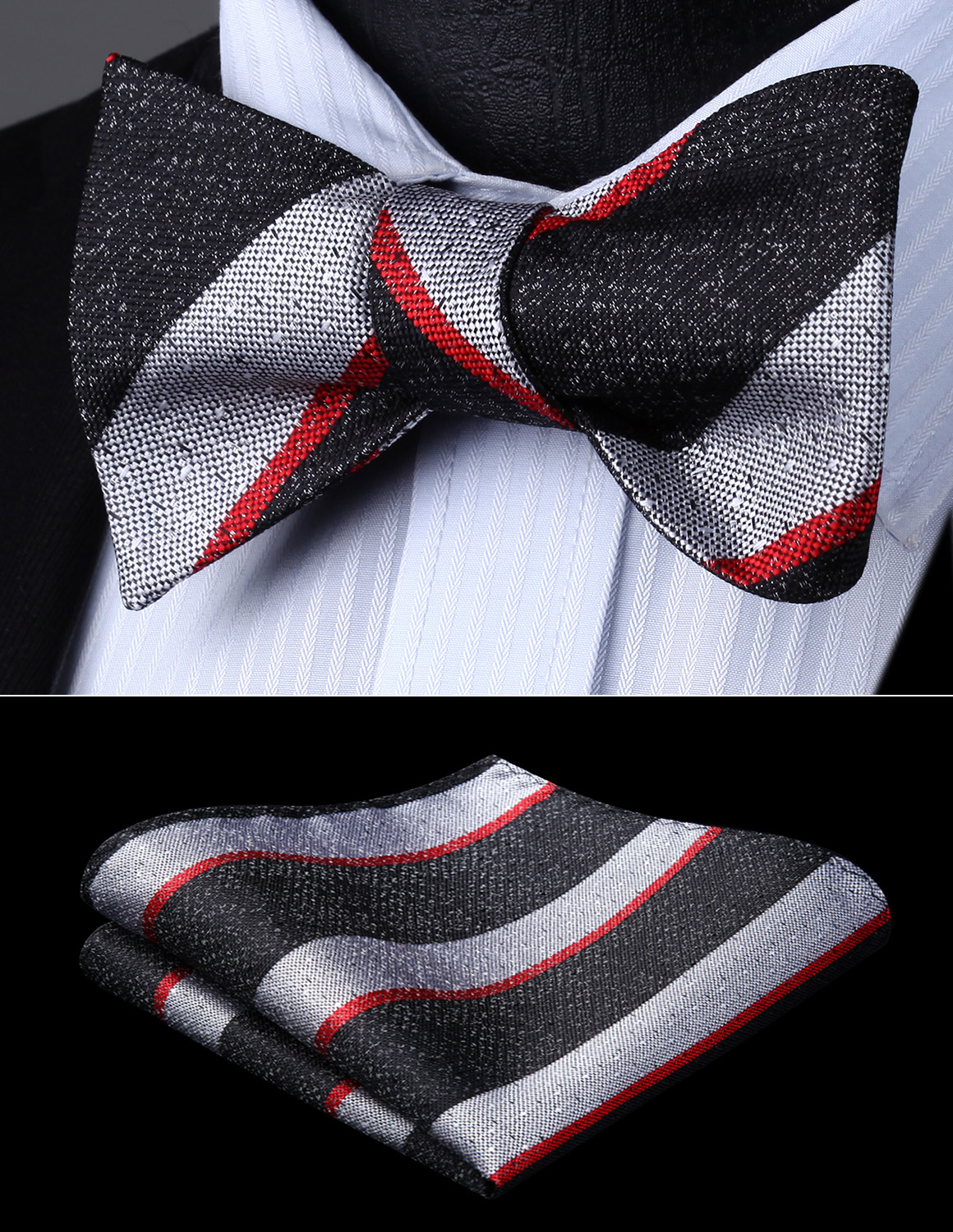 Striped Pocket Square Red and Black woven handkerchief