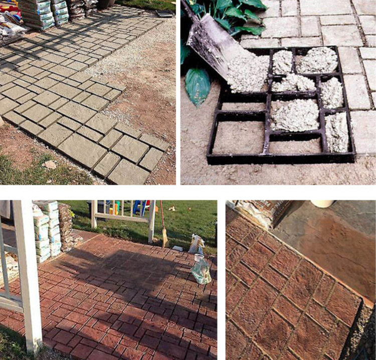 Elegant 51cm BIG Garden DIY Plastic Path Maker Mold Road Paving Cement Mould Brick  Decor Path Stepping Step Stone Maker Square Mold