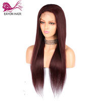 EAYON 99j Red Lace Front Wigs Human Hair Straight 13x6 Deep Part Pre Plucked Hairline with Baby Hair Brazilian Non Remy Hair