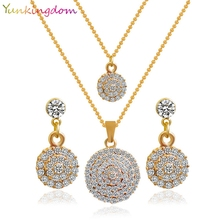 Yunkingdom New Gold Color Round Crystal Stones Stylish Necklace Earrings Fashion Wedding Jewelry Sets