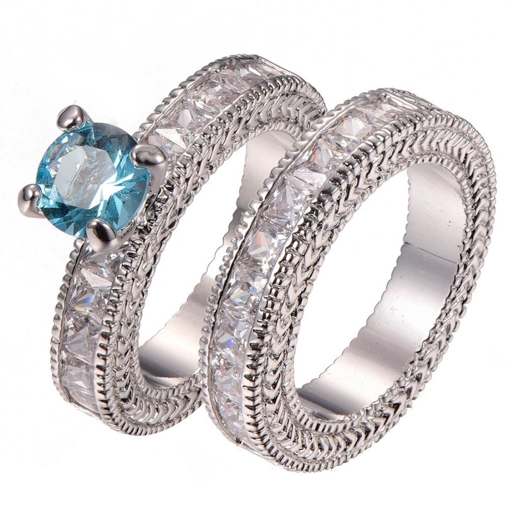 Fashion femmes or blanc rempli Horse Eye Bleu Royal Cristal CZ Bague Taille 6-9