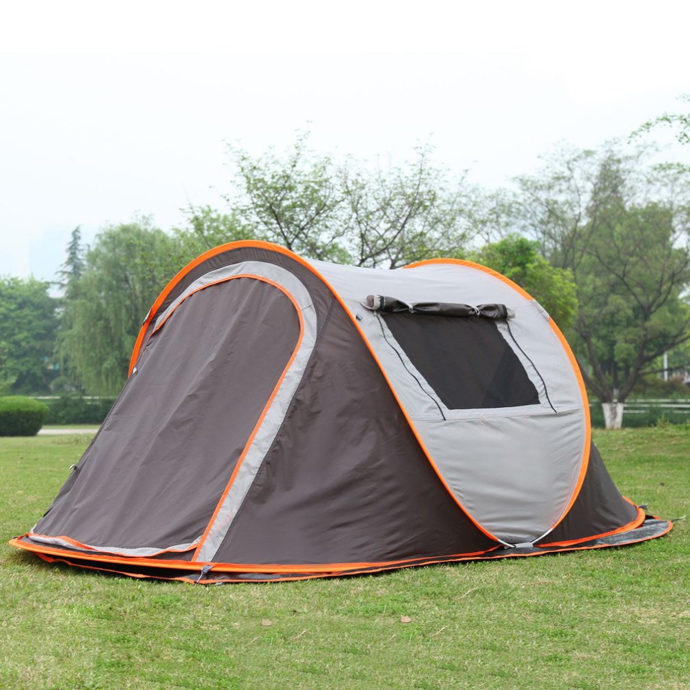 outdoor 3-4persons automatic speed open throwing pop up windproof waterproof beach camping tent large space free shipping недорго, оригинальная цена