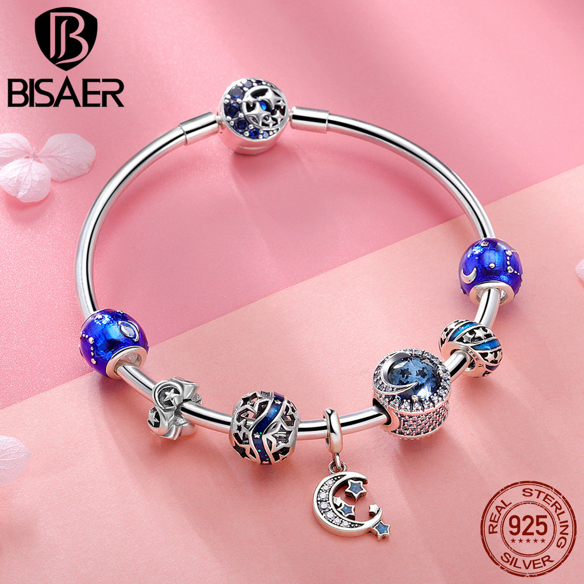 BISAER Genuine 925 Sterling Silver Shining Star Blue Moon Night Collection Brand Charm Bracelet for Women Silver Jewelry HSB801