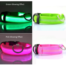 Nylon LED Pet Dog Collar Adjustable Luminous Night Safety Anti-lost Flashing Glowing