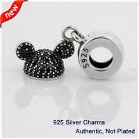 Compatible With Pandora Bracelet 100 925 Sterling Silver Mickey Sparkling Ear Hat CZ Beads European Style